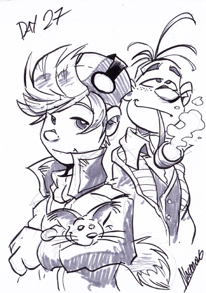 """Inktober Day 27"" Spirou and Fantasio sketch (ill. Nacho ""NachoMon"" Fernandez; Copyright (c) 2016 by the artist; Spirou (c) Dupuis; image from nachomon.deviantart.com)"