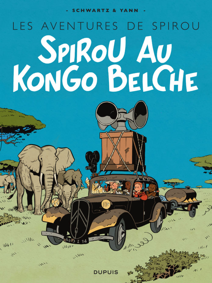 "'Spirou au Kongo Belche', bruxellois cover for 'Le Maître des hosties noires' (""Spirou in Belgian Congo""/""Master of the Black Hosts""; ill. Schwartz & Yann; Copyright (c) 2016 Dupuis and the artists; image from dupuis.com)"