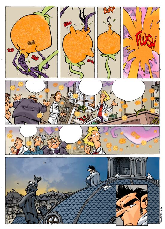 """'La Jeunesse de Champignac' test pages p. 3 (""""Champignac's Youth""""; ill. Jordi Sempere; Copyright (c) Dupuis and the artist; image from jlmunuera on bdgest.com)"""