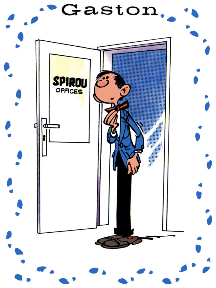 Gaston Lagaffe's first appearance, Journal de Spirou #985 (ill. Franquin; Copyright (c) 1957 Dupuis and the artist; colors by Spirou Reporter after Rombaldi Franquin intégrale)