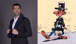 Arnaud Ducret as officer Longtarin in 'Gaston Lagaffe' film (ill. Franquin, photo from normandie-actu.fr)