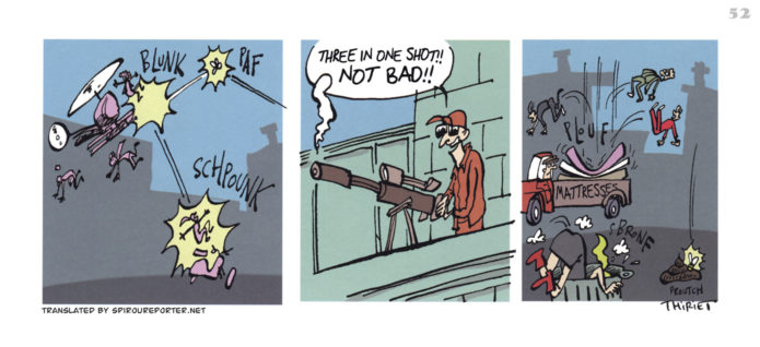 """Spirou's Exquisite Corpse"" p. 52 ('Spirou: Un Cadavre Exquis'; ill. Jean-Michel Thiriet; Copyright (c) 2011 Dupuis and the artist; SR scanlation)"