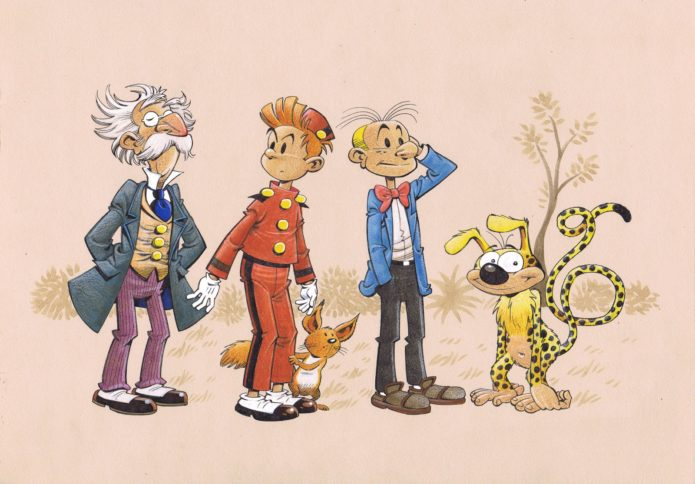 Spirou & Co., commission for Maximilian Ebling (ill. Roger Langridge; Copyright (c) 2017 the artist; Spirou (c) Dupuis; image from hotelfred.blogspot.com)