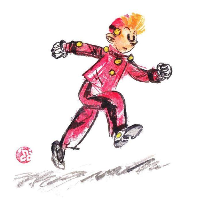 """Spirou scotch tape tribute to Franquin (ill. Nicolas """"Kurenai"""" Lacombe; Copyright (c) 2017 the artist; Spirou (c) Dupuis; image from instagram.com/kurenaiscotchtape)"""