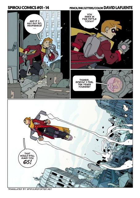 'Spirou Comics' sample (ill. David Lafuente & Kid Toussaint; Copyright (c) the artists; Spirou (c) Dupuis; SR translation; image from facebook.com/tkid.toussaint)