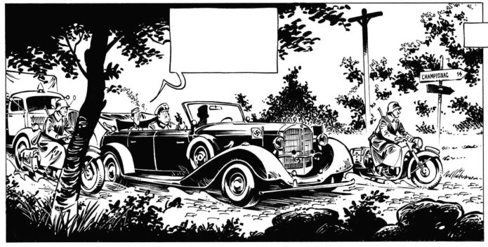 Work-in-progress excerpt from unknown Spirou one-shot (ill. David Etien; Copyright (c) 2017 by the artist; Spirou (c) Dupuis; image from facebook.com/David-Etien-1513364575628224/)