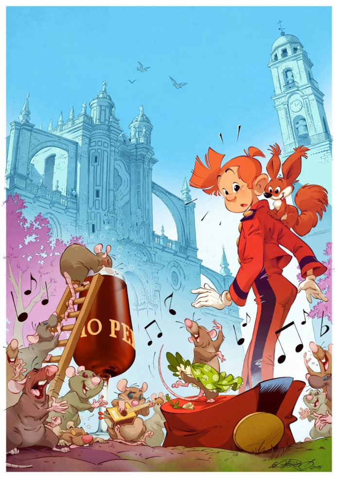 "Spirou in Jerez de la Frontera, fanart for ""...y se escribe Spirou"" exhibition in Cádiz (ill. David Garrido; Copyright (c) 2015 by the artist; Spirou (c) Dupuis)"