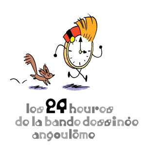 "Spirou clock and Spip, ""24 hours of comics in Angoulême"" logo ('les 24 heures de la bande dessinée angoulême'; ill. Trondheim; Copyright (c) 2017 by the artist; Spirou (c) Dupuis; image from http://24hdelabdspecialspirouetfantasio.citebd.org)"