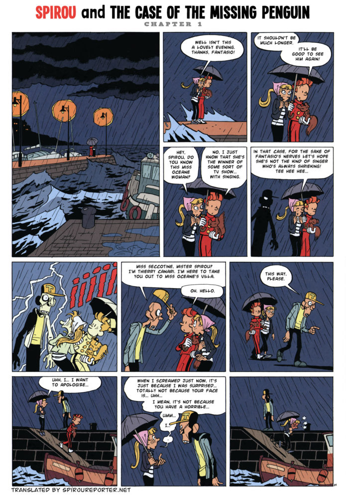 "From Journal de Spirou #4127, 'Spirou et l'affaire du pingouin' p. 1 (""Spirou and the Case of the Missing Penguin""; ill. Pascal Jousselin; Copyright (c) 2017 Dupuis and the artist; SR scanlation)"