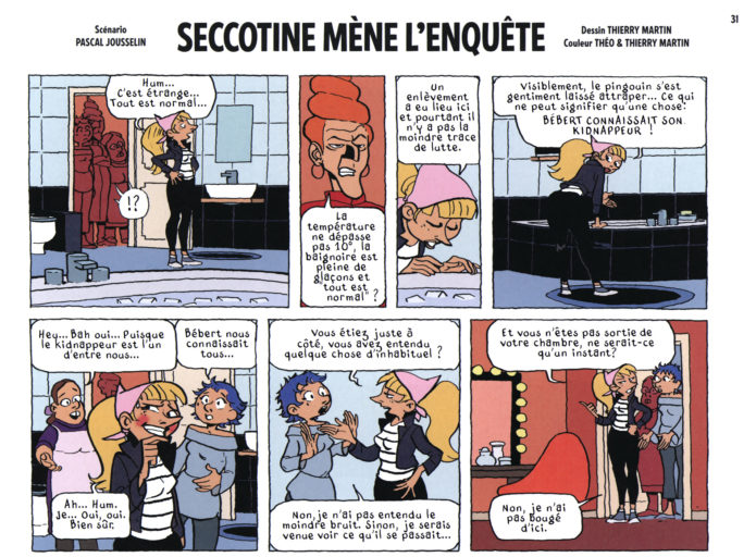 "From Journal de Spirou #4127, 'Spirou et l'affaire du pingouin: Seccotine mène l'enquête' p. 1a (""Spirou and the Case of the Missing Penguin: Seccotine Investigates""; ill. Thierry Martin & Pascal Jousselin; Copyright (c) 2017 Dupuis and the artist; SR scanlation)"