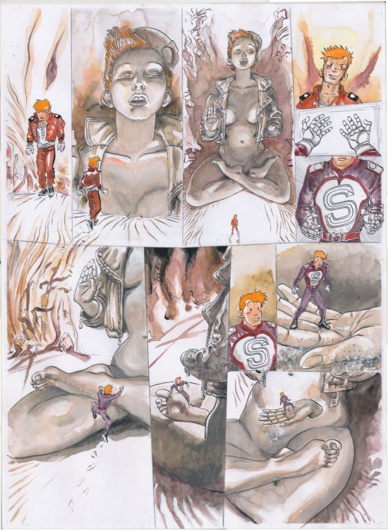 Page from or study for 'Soumaya' (ill. Marc Hardy & Zidrou; Copyright (c) 2017 by Dupuis and the artists; image from stripspeciaalzaak.be)