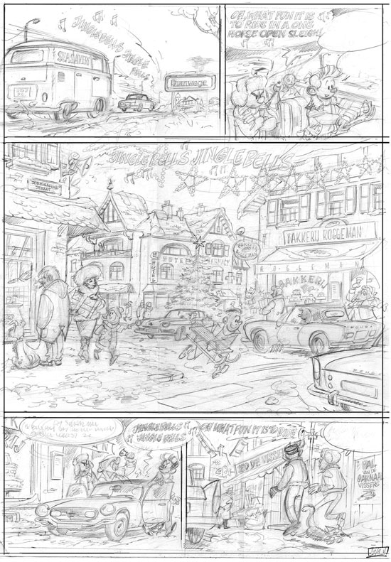 "Robbedoes Special #2 'Het Plan van Wiebeling' penciled page (""Spirou Special #2: Zantafio's Plan""; ill. Cambré & Legendre; Copyright (c) Dupuis, Ballon Media and the artists; image from stripspeciaalzaak.be)"