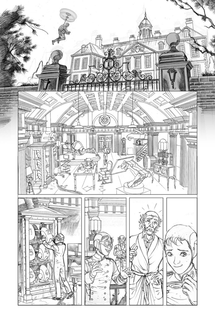 Spirou Comics tryout sample, page 6 pencils (ill. José María Beroy & Kid Toussaint; Copyright (c) 2017 by the artists; Spirou (c) Dupuis; image from beroyweb.blogspot.com)
