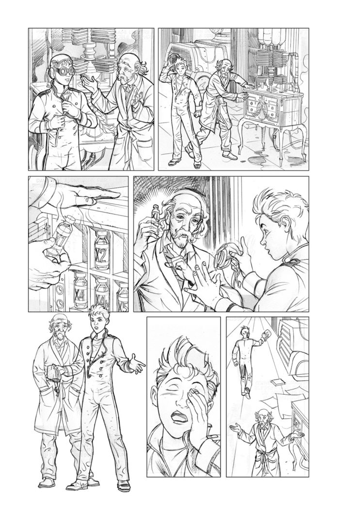 Spirou Comics tryout sample, page 7 pencils (ill. José María Beroy & Kid Toussaint; Copyright (c) 2017 by the artists; Spirou (c) Dupuis; image from beroyweb.blogspot.com)