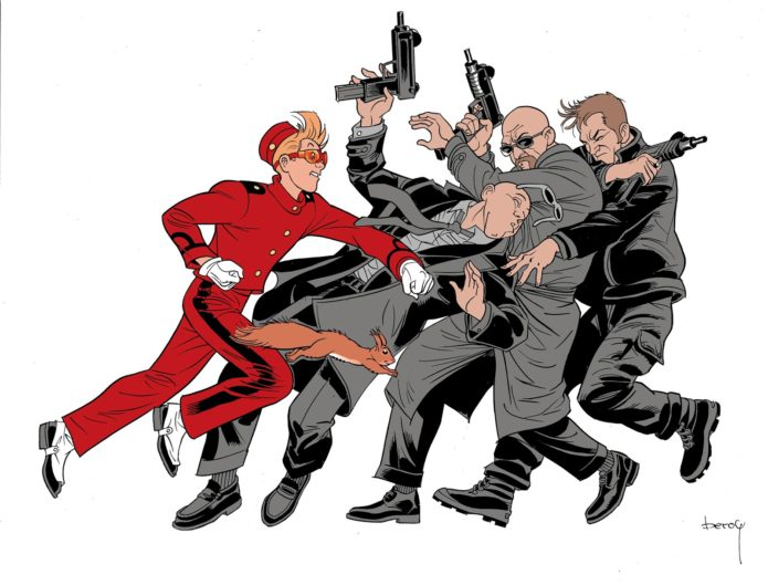 Spirou Comics tryout sample, Spirou vs. gangsters (ill. José María Beroy & Kid Toussaint; Copyright (c) 2017 by the artists; Spirou (c) Dupuis; image from beroyweb.blogspot.com)