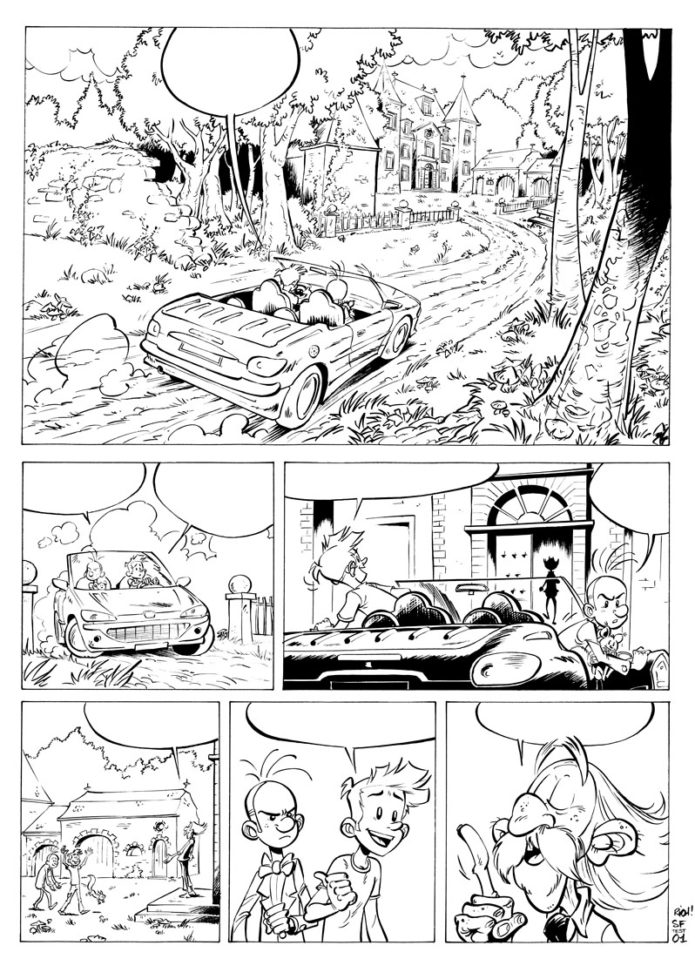 Spirou test page (ill. Richard Di Martino; Copyright (c) 2009 by the artist; Spirou (c) Dupuis; image from zeveryrichblog.blogspot.com)