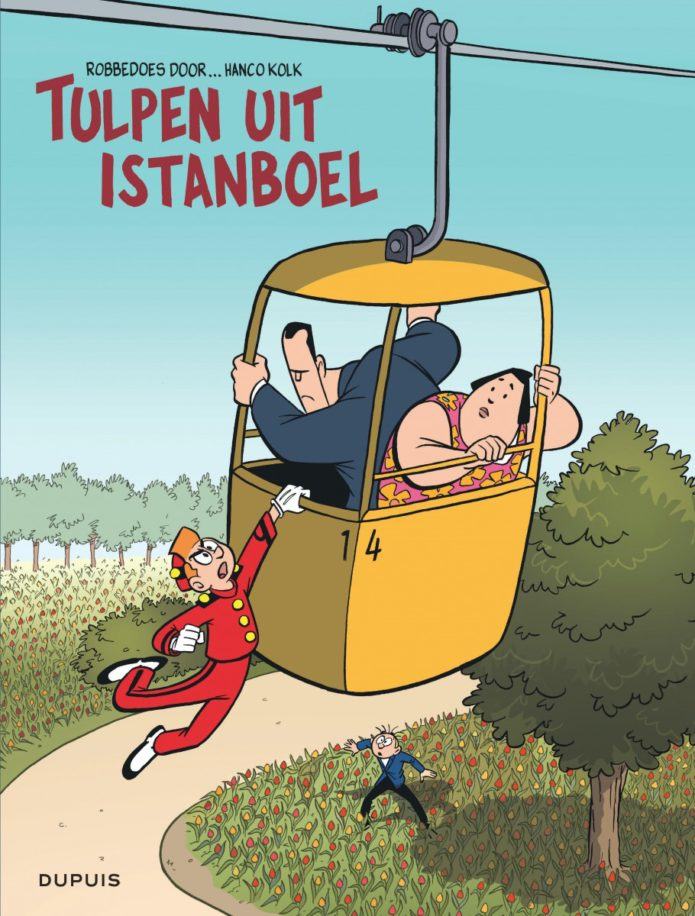 "'Robbedoes door... Tulpen uit Istanboel' NL cover (""Spirou by... Tulips from Istanbul""; ill. Hanco Kolk; Copyright (c) 2017 Dupuis and the artist; image from dupuis.com)"